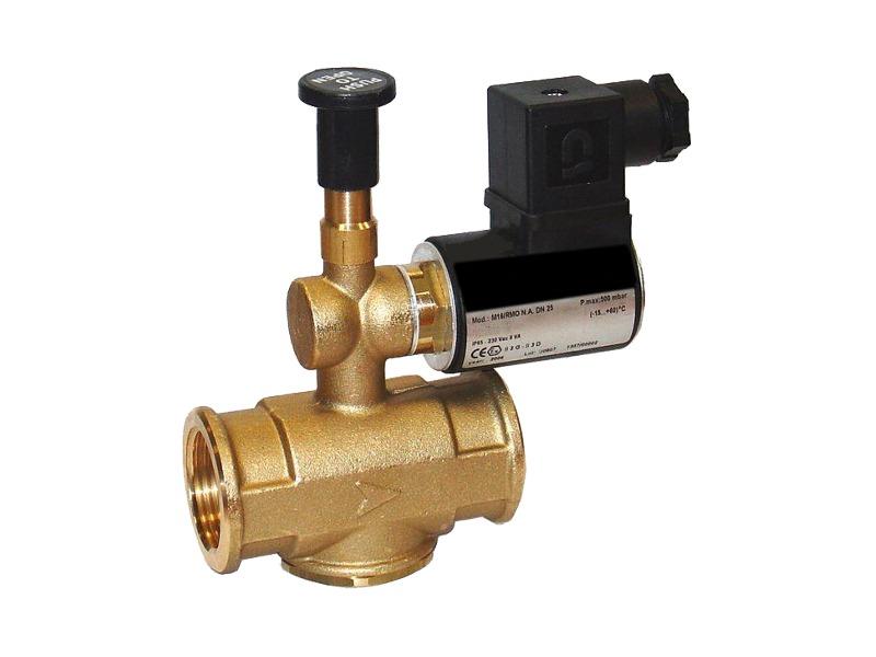 Elettrovalvola normalmente aperta in ottone per gas a riarmo manuale