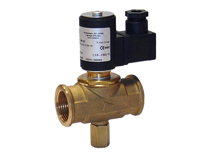 Elettrovalvola normalmente chiusa in ottone per gas a riarmo manuale